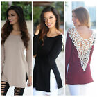 US Fashion Womens Loose Tops Long Sleeve Blouse Casual Shirt Summer Tops T-Shirt