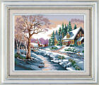 """Joy Sunday - Snowscape Counted Cross Stitch Kit 18"""" x 15"""" 14 Count Fabric"""