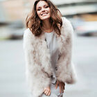 Women Genuine 100% Real Ostrich Feather Fur long sleeve Coat Jacket 2018 Spring
