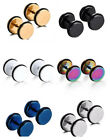 Cool Men's Titanium Earrings Dumbbell Round  Wheel Six  Colors Stainless Steel