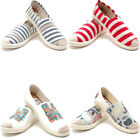 Womans Canvas Slip on Shoes Striped Low Top Loafers Soft Casual Sneakers Flats