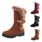 Womens Ladies Boots Winter Warm Snow Boots Thicken Fur Suede Fleeced Flats Shoes