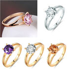 crooks and castles cheap - 18k Gold Filled Signet Pink Sapphire Crystal Women Cheap Engagement Rings Sz5-9