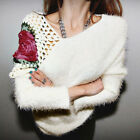 Women Autumn Winter Pullovers Roses Flowers Casual Hollow Sweater Tops Blouse