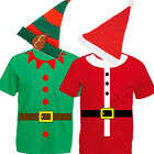 LADIES WOMENS ELF SANTAS HELPER CLAUS T SHIRT & HAT CHRISTMAS XMAS FANCY DRESS