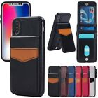 For Apple iPhone X Slim Leather Magnetic Holder Wallet Card Stand Case Cover