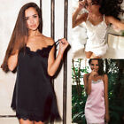 Sexy Women Ladies Satin Lace Lingerie Pajamas Sleepwear Nightgown Night Dress US