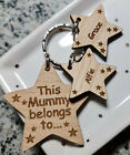 PERSONALISED MOTHERS DAY BIRTHDAY GIFT WOODEN KEYRING MUM NAN MUMMY CHRISTMAS