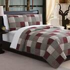 Twin Full Queen King Burgundy Tan Plaid Patchwork 3 pc Cotton Quilt Coverlet Set image