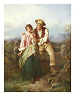 "WILLIAM HENRY MIDWOOD ""Rustic Courtship"" victorian ART various SIZES, BRAND NEW"