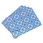 Set of Cork Placemats Table Place Settings Mats Moroccan Tiles Blue White Floral