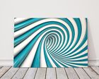 3D illusion blue and white swirl pattern printed framed canvas picture