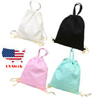 Drawsting gym swim Dance school Linen Bag Sack Sky Blue Pink
