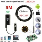 5M WIFI 8mm Endoscope Borescope Snake Inspection Camera Scope for Android iPhone