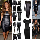 LADIES WOMENS WET LOOK  PVC LEATHER DRESS LONG SLEEVE BODYCON TUNIC TOP SIZE 8-2