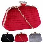 New Textured Velvet Diamante Clasp Evening Prom Box Clutch Bag Purse
