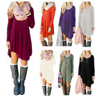 Casual Womens Long Sleeve Asymmetrical Hem Solid Color Shirt Dress Top Blouse