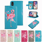 Blinking Flamingo Pattern PU Leather Wallet Flip Folio Case Cover for iPhone X