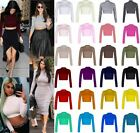 New Ladies Polo Neck Long Sleeve Plain Crop Top UK 8-14
