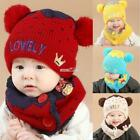 Baby Fashion Fleece Contrast Color Beanie Knitted Warm Winter Hat with S0BZ