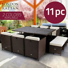 London Rattan Wicker 11 Pcs Outdoor Dining Furniture Garden Set Table Chairs Pe