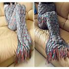 Mix Color Blankets&Throws Crocheted Mermaid Tail Knitting With Sparket Scales
