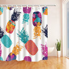 Watercolor Pineapple On White Bathroom Fabric Shower Curtain Set 71 Inch Long