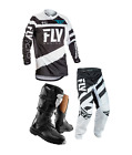 New 2018 Kids Youth Fly F16 Jersey Pant Kit & Thor Boots Black White Xmas Combo