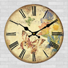 Butterfly Flowers Retro Wall Clock Home Kitchen Bar Decor