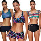 Boyshort Swimsuits Sport Swimwear Push up Padded Bra Wireless Bikini Set Tankini