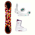 Joyride Checkers Black Cosmo Womens Complete Snowboard Package