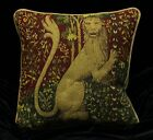 STANDING LION Piped SCATTER CUSHION Cover Medieval Tapestry Design 42cm sq