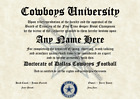 Dallas Cowboys #1 Fan Custom Diploma Certificate for Man Cave NFL Novelty Gift $12.99 USD on eBay