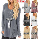 New Womens Girls Plus Size Sweater Crew Neck Patchwork Casual Looseers Tops