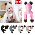 Newborn Baby Boy Girl Fur Pom Hat + Scarves scarf Winter Warm Knitted Beanie Cap