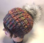 CROCHET FAUX POM POM HAT adult womens teen beanie warm bulky many colors offered