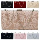 New Floral Lace Diamante Detail Satin Women's Evening Clutch Bag Handbag