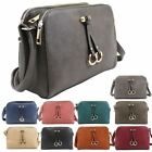 New Faux Leather Golden Rings Detail Ladies Crossbody Shoulder Bag