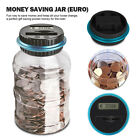 Digital Euro Coin Counting Money Jar Money Storage Saving Box Counts Coins LCD #