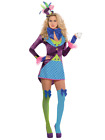 Ladies Colorful Mad Hatter 6 Pc Carnival Book Film Fancy Dress Costume UK 8-16