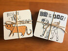Coaster Set Cats or Dogs Sets of 4 Wooden Coasters with Fun Slogans Gift Idea