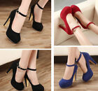 Women Buckle Pumps Round Toe High Heels Platform Ankle Shoes Mary Jane Shoes New