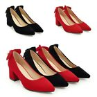 Womens Formal Dress Suede Pointy Toe Chunky Heels Pumps Office Court Work Shoes