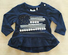 IKKS Infant Girls Long Sleeve Peplum T-Shirt Top Navy 6m NWT $56
