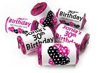 Personalised Mini Love Heart Sweets for Birthday with age Favours, Pink/Black V0