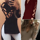 Women Ladies Cut Out Long Sleeve Blouse Top Casual Slit T-Shirts Pullover Tee