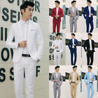 Men's Casual Slim Fit One Button Suit Blazer Coat Jacket Tops Pants Men Fashion