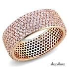 WOMEN'S PINK CZ ROSE GOLD STERLING SILVER ETERNITY FASHION WEDDING RING BAND