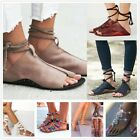 Women Lace Up Open Toe Casual Sandals Flat Gladiator Ankle Strap Pumps Shoes New