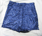 HIGH WAISTED NAVY BLUE SEQUIN SHORTS HOT PANTS WHITE TULLE RUFFLE S M L XL XXL